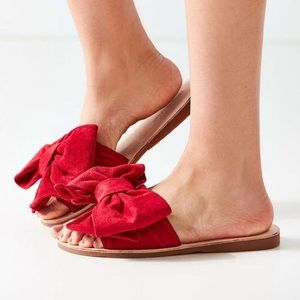 Jeffrey Campbell Urban Outfitters red bow slides